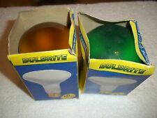 2 Pc 50W Bulbrite 50R20G Green & 50R20A Amber Indoor Reflector Light Bulbs R-20