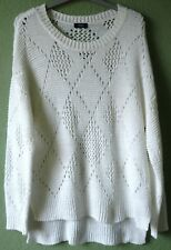 Womens long sleeved pure white lacy medium-knit slouchy jumper by F&F size 12