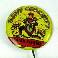 1950s Vintage Davy Crockett Indian Fighter Pin Back Button Stagecoach