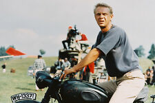 Steve McQueen El Gran Escape Clásico a horcajadas TRIUMPH MOTO póster de 24x36