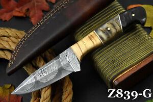 Custom Damascus Steel Hunting Knife Handmade With Rams Horn & Walnut Handle (G)