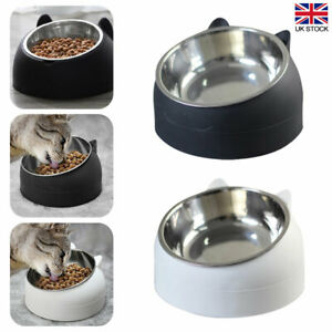 2xCat Bowl Raised No Slip Stainless Steel Elevated Stand Tilted Pet Food Bowl UK