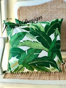 GENUINE Tommy Bahama Indoor/Outdoor  Green-White 45cm Tropical Cushion Cover
