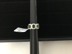 Emerald cut Russian Chrome Diopside 3 stone ring with White Zircon