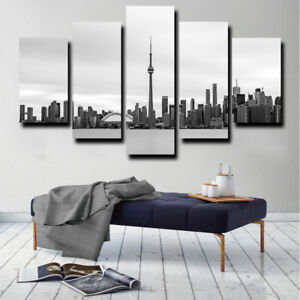 Black And White Toronto Skyline 5 Piece Canvas Print Wall Art