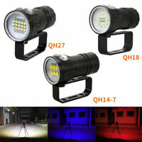 Diving LED Flashlight Light Underwater Video 50000LM White Red Blue Photography