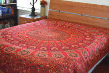 Cotton Red Green Color Block Print Floral Paisley Flat Bed Sheet from India