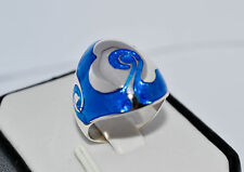 925 STERLING SILVER HANDMADE BLUE ENAMEL RING SIZE  UK-  N  or  US-  7