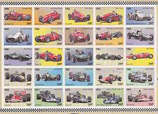 50th aniversario F1 fórmula 1 de 1950 a 1999 MCM hoja de sellos de etiqueta de caridad