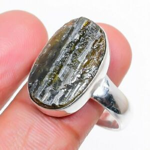 Black Tourmaline Gemstone Handmade 925 Sterling Silver Jewelry Ring Size 9