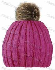 Girls Ribbed Knitted Ski Beanie Hat with Faux Fur Pom Pom Childrens Winter Warm