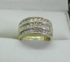 Beautiful Heavy 18 Carat Gold Three Row 1.00 Carat Diamond Set Ring Size M