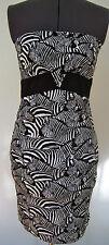 NEW TRINA TURK LADIES DRESS CAROLYN ZEBRA PRINT STRAPLESS BLACK WHITE 2 4 $268