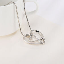 "Shiny Rhodium Plated Filigree Love Heart Pendant Necklace 19"" Gift"