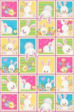 "Hop To It Fabric Panel Easter Bunny Blocks Eggs 24"" x 44"" Premium Cotton"