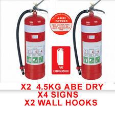 NEW  2 x  4.5KG ABE Fire Extinguishers - x4 locator signs, 2x wall hooks x2 tags