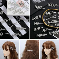 Rhinestone Shining Fashion Headpiece Letter Hair Clip Hairpin Barrette Stick