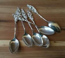 ANTIQUE/VINTAGE - SET OF (6) STERLING SILVER FLORAL DEMI-TASSE / DESSERT SPOONS