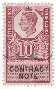 (I.B) George VI Revenue : Contract Note 10/-