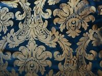 Vintage Damask Boho Floral Drapery Teal Gold Curtain Grommets Hand Made Theater