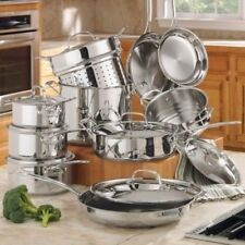 Cuisinart Cookware Set Pots and Pans Stainless Steel Kitchen Cooking Sets 17Pc
