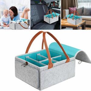 Baby Caddy Diaper Organiser Case Nappy Mummy Storage Bag with Lid Felt Box New