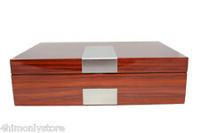 8 WATCH JEWELRY ROSEWOOD GLOSS CHERRY WOOD DISPLAY STORAGE WOODEN CASE BOX