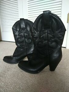 Ladies Spite Black Faux  Leather Western Cowgirl Boots Size:8-1/2