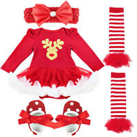 Newborn Baby Girls Christmas Outfits Clothes Romper Tutu Skirt Dress Set Costume