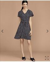 Ann Taylor Sleeveless Fit And Flare navy Floral Tie Front Dress Sz 6