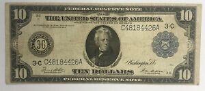 1914 $10 FEDERAL RESERVE NOTE, PHILADELPHIA, FR-911B, FINE (5mm split-bottom)
