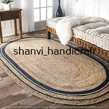 Braided Oval Rugs Jute 5x8 Feet Floors Rugs Bohemian Yoga Meditation Jute Carpet
