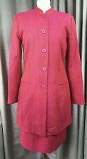 Monsoon Twilight Red Skirt Suit Long Jacket Mandarin Collar 100% Silk UK10 EU38