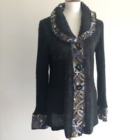 Sioni Wool Floral Knit Embroidered Cardigan Sweater Jacket Women's Size M Mohair
