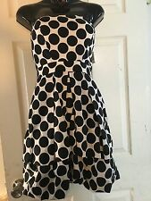 Ruby Rox Strapless Two Tier White With Black Polka Dot Party Dress Size 5