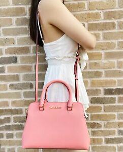 Michael Kors Idina Small Satchel Bag Grapefruit Pink Saffiano Leather