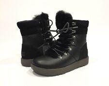 UGG VIKI WATERPROOF COLD-WEATHER BOOTS BLACK LEATHER SHEEPSKIN -WOMENS US 6.5