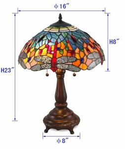 """Stained Glass Tiffany Style Red Dragonfly Table Lamp 2 Lights 16"""" Shade"""