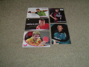 TABLE TENNIS - SET OF 5 SIGNED OFFICIAL 6 X 4 PHOTO CARDS