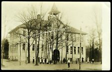 Antique Real Photo Postcard RPPC Old School House With Children