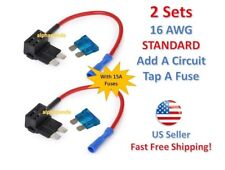 2 Set STANDARD Add-A-Circuit Fuse Tap Holder 16 AWG Gauge Car Auto Truck +15 Amp