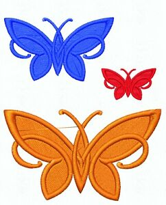 Simple Embroidered Butterfly Motif / Applique - 3 Sizes Lots of Colour Choices