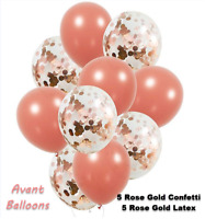 Rose Gold Confetti Balloons 18 inch |10 Pack Rose Gold Foil, Light Pink Paper