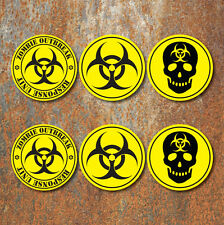Bio Hazard Advertencia Zombie Sticker Set Amarillo Negro Biohazard calcomanías