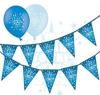"""Fathers Day Bundle - Bunting & 12"""" Latex Blue Asst Balloons Best Dad pack of 10"""