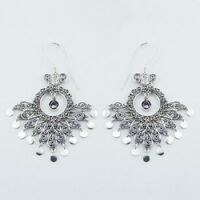 Silver earrings chandelier hook Amethyst Handmade filigree 925 sterling 43x 69mm