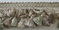 STUNNING VINTAGE SILK DECORATOR TASSEL TRIM IN FADED OLIVE & SAGE  PP527
