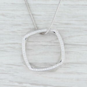 """Tiffany & Co Gehry Torque Diamond Eternity Square Necklace 18k White Gold 18"""""""