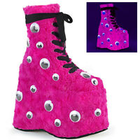 Demonia SLAY-206 Women's Hot Pink Fur Platform Lace-Up Front Side Zip Ankle Boot