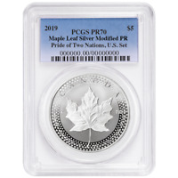 2019 Modified Proof $5 Silver Canadian Maple Leaf PCGS PR70 Pride of Two Nations